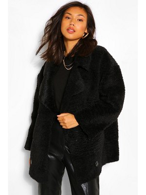 Boohoo Suedette Lined Double Breasted Teddy Faux Fur Coat