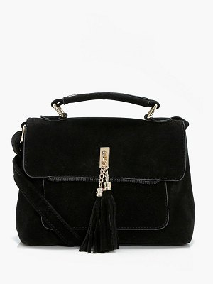 Boohoo Suedette Tassel Cross Body Bag