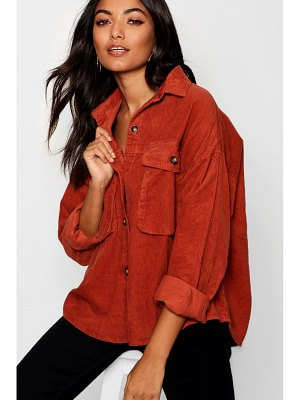 Boohoo Super Oversize Mock Horn Button Cord Shirt