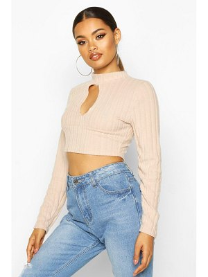 Boohoo Super Soft Brushed Rib Cut Out Crop