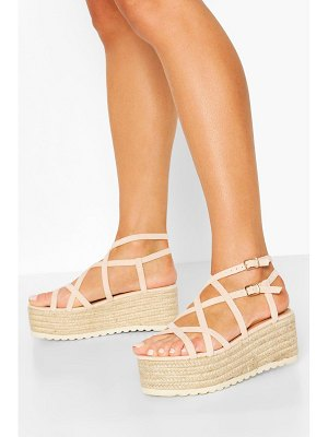 Boohoo Super Strappy Raffia Flatforms