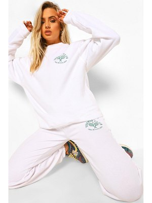 Boohoo Sweater Tracksuit With Tennis Print