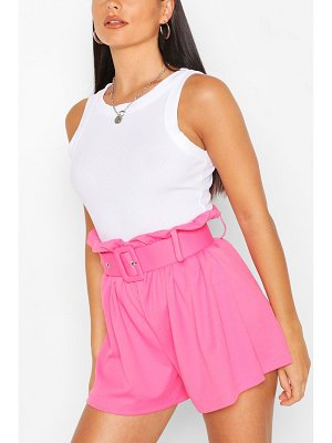 Boohoo Tailored Paper Bag Belted Shorts