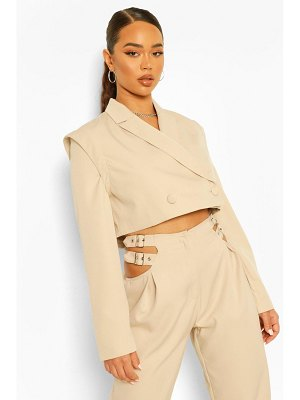 Boohoo Tailored Shoulder Detail Cropped Blazer