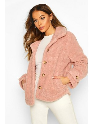 Boohoo Teddy Faux Fur Curved Hem Coat