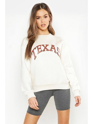 Boohoo Texas Oversized Slogan Sweat