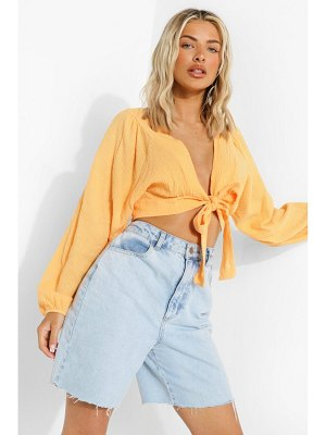 Boohoo Textured Knot Front Blouse