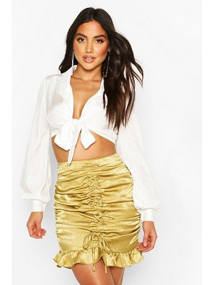 Boohoo Textured Satin Ruched Lace Up Mini Skirt