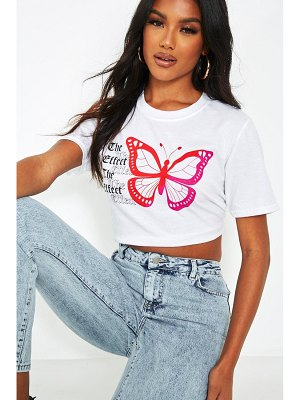 Boohoo 'The Effect' Butterfly Back Print Cropped T-Shirt