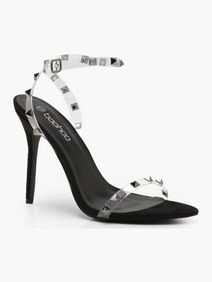 Boohoo Clear Studded Strap Barely There Heels