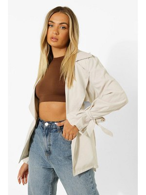Boohoo Tie Cuff Detail Belted Trench Coat