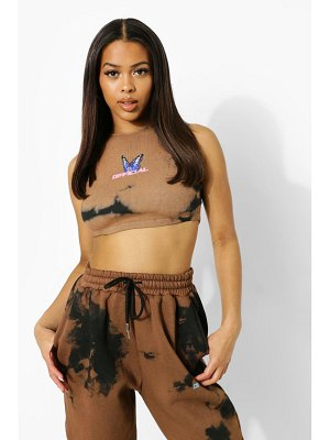 Boohoo Tie Dye Ruched Detail Crop Top