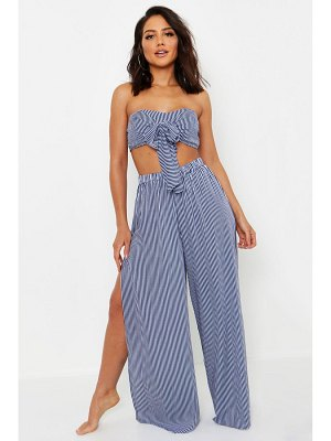 Boohoo Tie Front Bandeau Beach Co-Ord Set