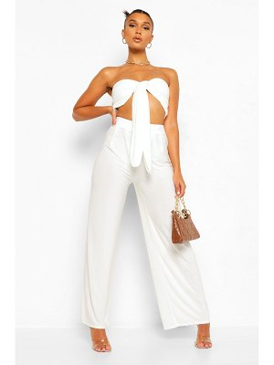 Boohoo Tie Front Crop Top And Wide Leg Trouser Co-Ord