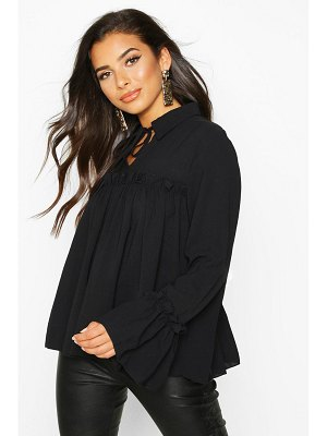 Boohoo Tie Front Ruffle Detail Woven Smock Top