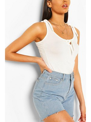 Boohoo Tie Shoulder And Front Tank