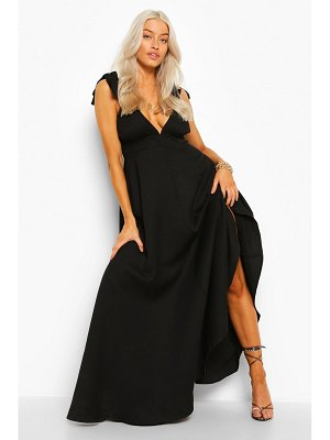 Boohoo Tie Shoulder Plunge Maxi Dress