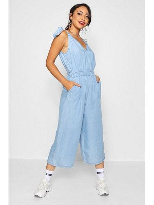 Boohoo Tie Shoulder Wide Leg Denim Jumpsuit