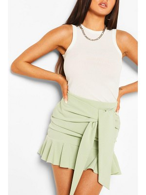 Boohoo Tie Waist Drop Hem Mini Skirt