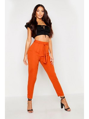 Boohoo Tie Waist Linen Look Slim Fit Pants