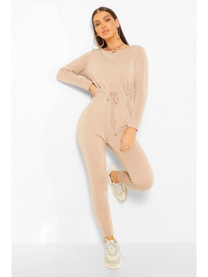 Boohoo Tie Waist Long Sleeve Lounge Jumpsuit