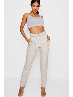 Boohoo Tie Waist Tailored Slim Fit Pants