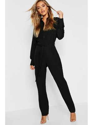 Boohoo Tie Waist Utility Denim Boilersuit
