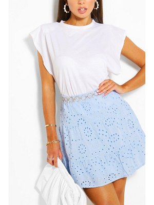 Boohoo Tiered Broderie Skater Skirt