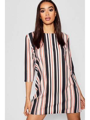 Boohoo Tonal Stripe 3/4 Sleeve Shift Dress