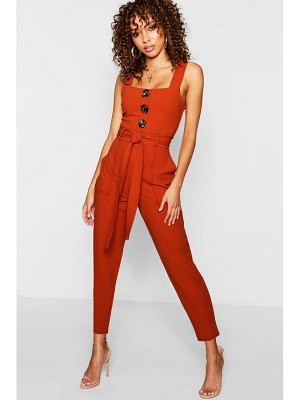 Boohoo Topstitch Mixed Size Button Jumpsuit