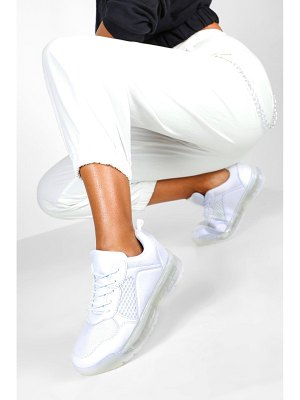 Boohoo Transparent Sole Lace Up Sports Sneakers