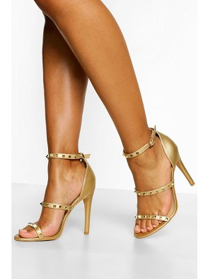 Boohoo Triple Strap Studded Stiletto Heels