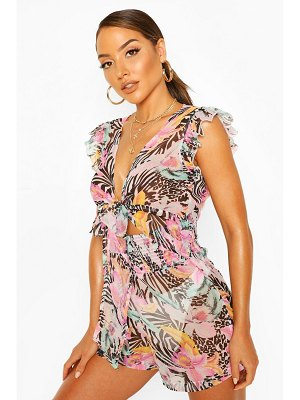 Boohoo Tropical Animal Tie Front Beach Romper