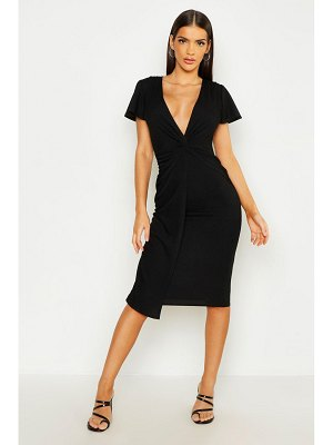 Boohoo Twist Front Midi Dress