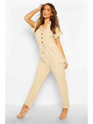 Boohoo Utility Pocket Button Front Jumpsuit