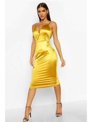 Boohoo V Bar Strappy Midi Stretch Satin Dress