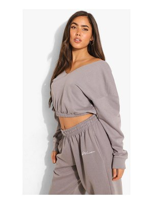 Boohoo V Neck Crop Sweatshirt