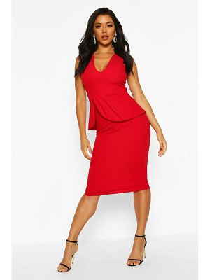 Boohoo V Neck Peplum Midi Dress