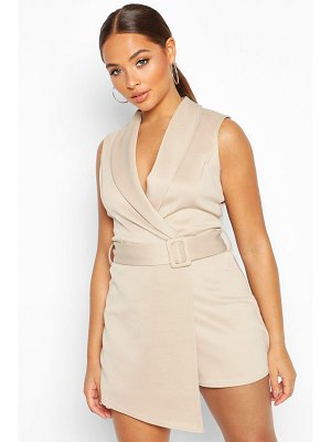 Boohoo V Neck Wrap Over Self Belt Tailored Skort romper