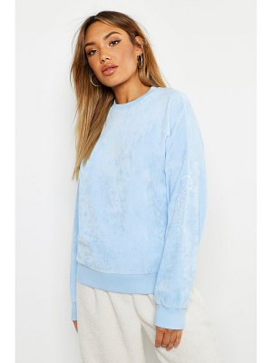 Boohoo Velour Slogan Sweat