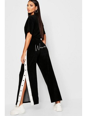 Boohoo Velour Woman Embroidered Wide Leg Trouser
