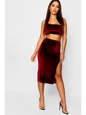 Boohoo Velvet Split Side Midi Skirt