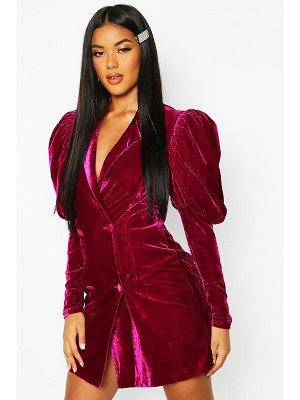 Boohoo Velvet Statement Sleeved Tuxedo Dress