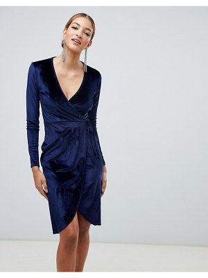 Boohoo velvet tie waist wrap midi dress