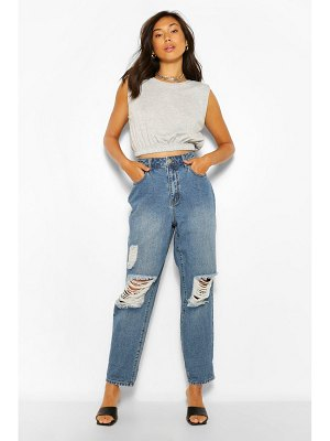 Boohoo Vintage Wash High Rise Distressed Dad Jeans