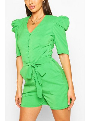 Boohoo Volume Sleeve Button Through Belted Romper