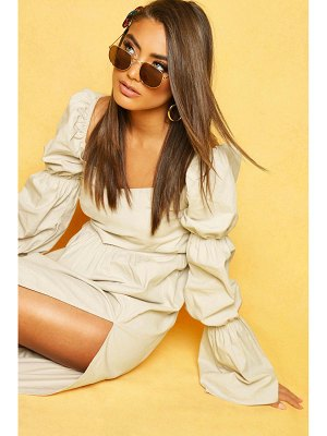 Boohoo Volume Sleeve Front Midaxi Dress