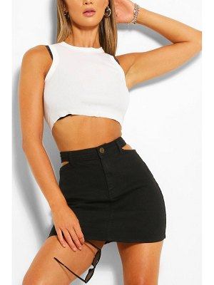 Boohoo Waistband Detail Disco Denim Skirt