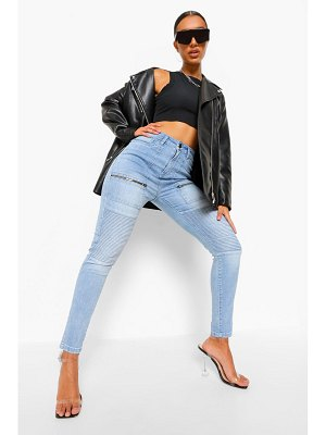Boohoo Washed Denim Zip Biker Jean