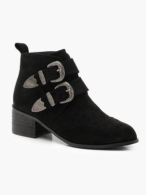 Boohoo Western Buckle Chelsea Ankle Boots